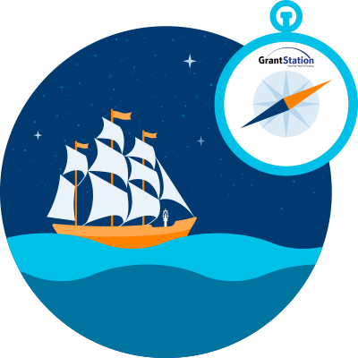 Image of a sailing ship with a compass overlaid. A GrantStation logo is superimposed on the compass.