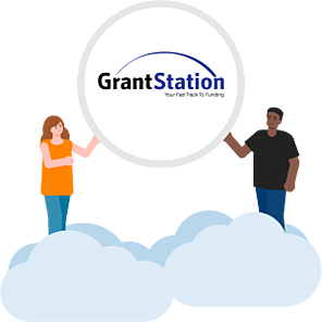 Illustration of two people holding a circle that holds the GrantStation logo